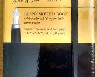 Blank Sketchbook, Art Journal, Artists Sketchbook, Art Notebook, Notebook, Mini Sketchbook, Travel Journal, Black Sketchbook, Pen and Ink