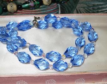 Vintage 1950s blue crystal glass necklace