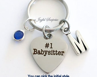 Gift for Babysitter KeyChain Sitter Keyring #1 Nanny Key chain Personalize Initial Birthstone birthday Christmas present purse charm planner
