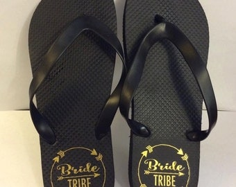 Bride Tribe flip flops Bridesmaid gift wedding maid of honor bachelorette