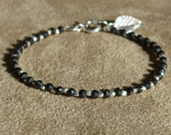 Black Spinel Bracelet, Sterling Silver, Dainty Bracelet, Silver Anklet, Black Bracelet, Black and white