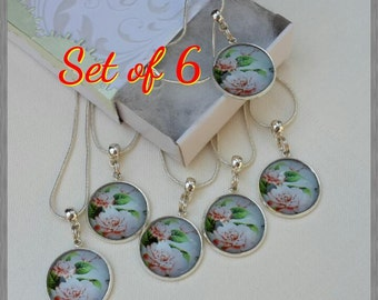 Set of 6 Bridesmaid gift necklace / Cabochon Necklace / Friends gift / Cabochon Kette