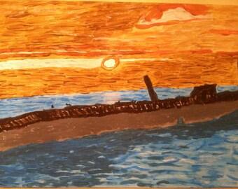 "Golden Sunset Original Painting 24"" x 18"""