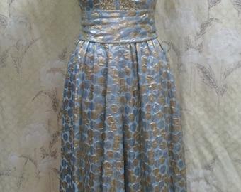 1970s Metallic Maxi Dress/Metal maxi Dress/Hippie Dress/Boho Dress
