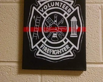 Thin Red Line Volunteer Firefighter Canvas