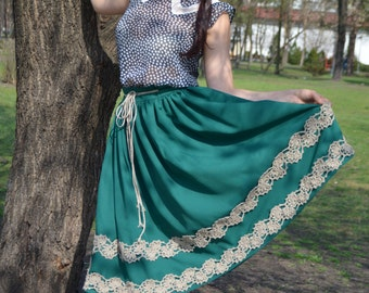 Skirt with crochet hemstitch