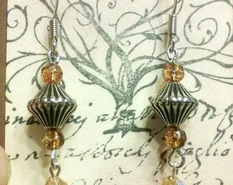 Champagne crystal earrings, silver earrings, crystal earrings