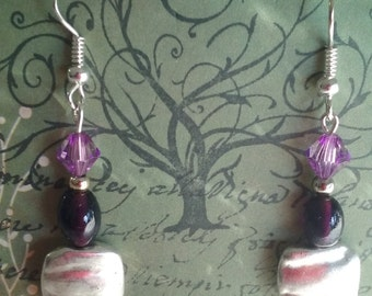 Purple earrings, Purple Ameythst Dangles, purple crystal earrings, silver earrings