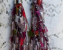 Ladder Ribbon Yarn Very Long Earrings Five Dollar Earrings Red Pink White Green Unique and Fun
