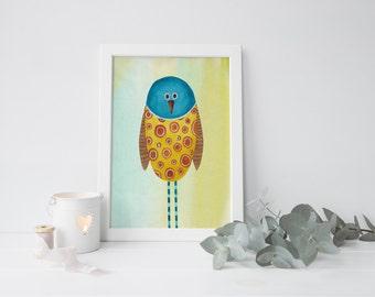 Whimsical Painting, Whimsical Prints, Whimsical Bird Art, Bird Painting, Bird Nursery Decor, Nursery Painting, Whimsical Nursery, Kids Art