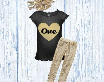 First Birthday Outfit - Gold Heart One Shirt - Glitter Gold Birthday Outfit