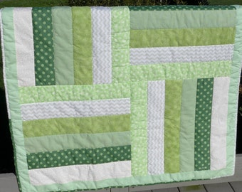 Sale! Green Geometric Baby Quilt