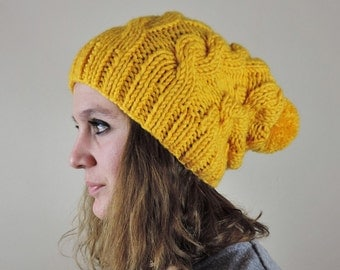 Yellow (or Choose Color) Hand Knitted Beanie, Slouchy Beanie, Cable Knit Hat, Pom Pom Beanie, Mens Wool Hat, Womens Cabled Beanie