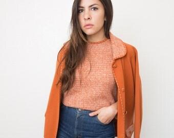 1960s Fascino Wool Knit Cardigan Set/ Fall Orange Vintage Wool Sweater Set