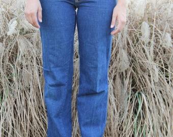 vintage 1970s rare landlubber high waist dark denim jeans sz 28