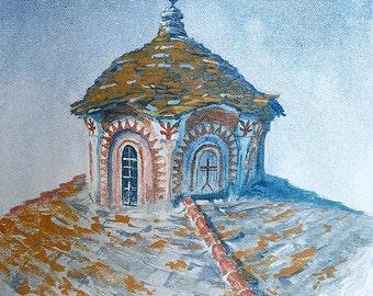 Mount Athos Hilandar Serbian Monastery Old Dome With Lichen (print)