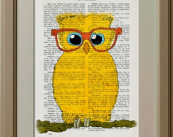 Yellow Owl With Glasses, Little Yellow Owl With Glasses, Owl On Branch, Vintage Book Page Print, Old Dictionary Page Print