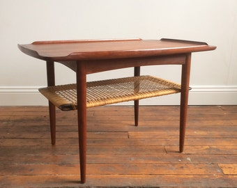 Delightful Danish Modern Teak U0026 Rattan End Table By Poul Jensen For Selig