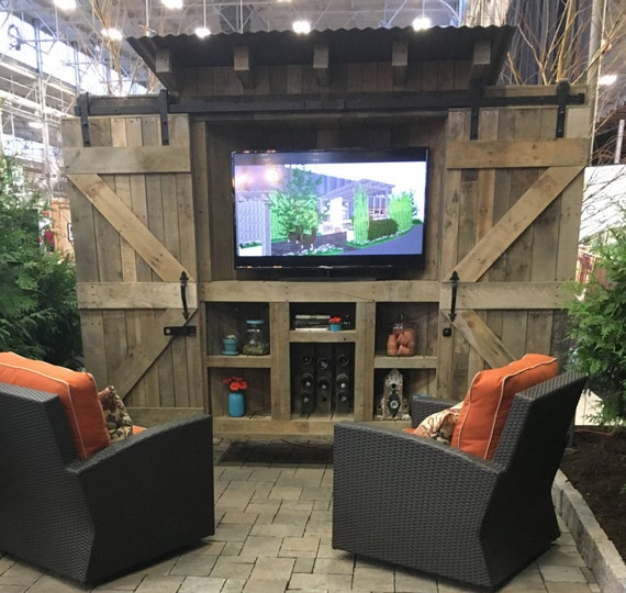 Items Similar To Reclaimed Wood, Rustic Outdoor TV Cabinet