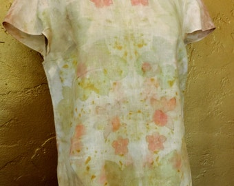 Eco dyed, eco printed large linen blouse in peach, green, yellows - Spring Flowers