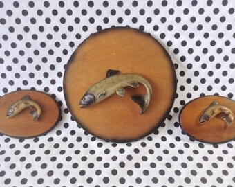 C.1950's~Vintage~Mounted Trout~Fish Wall Hanging~Nature Craft~Seattle Washington