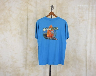 Hawaii TShirt 80s VOLCANO Tee HELICOPTER Hilo Bay Air 1980s Graphic T shirt Retro Tee Tropical Thin Vintage Turquoise Blue Large