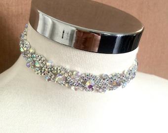AB Rhinestone Choker, Crystal Choker, Choker Necklace, Choker Jewelry