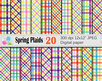 Spring Plaid Digital Paper Set, Bright Colorful Plaid Digital Scrapbook papers, Plaid patterns, Instant Download