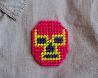 Kitsch Mexican Wrestler Mask Needlepoint Pin