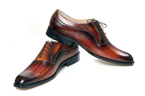 Leather man shoes, wood, warm brown, Oxford, hand painted (made in Italy)
