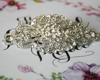 Wedding Hair Comb, Bridal Hair Comb, Barrette Clip, Vintage Hair Comb, Crystal Hair Comb, Silver Hair Comb