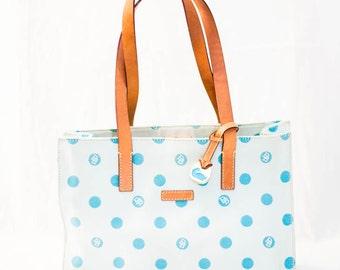 Dooney and Burke fabric tote - Dooney and Burke purse - D and B polka dot purse - Dooney and Burke handbag