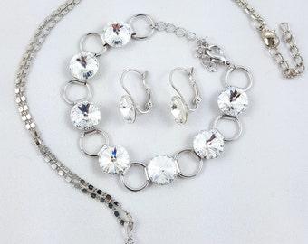 Swarovski Earrings Bracelet Pendant Necklace Set Jewelry Set - Made with Swarovski Elements Crystals - Rhodium-plated Tombak