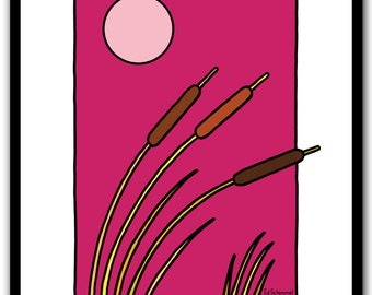 A hot summer day, modern wall art print, landscape, reed, magenta, Limited edition of 50 prints