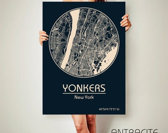 YONKERS New York CANVAS Map Yonkers New York Poster City Map Yonkers New York Art Print Yonkers New York