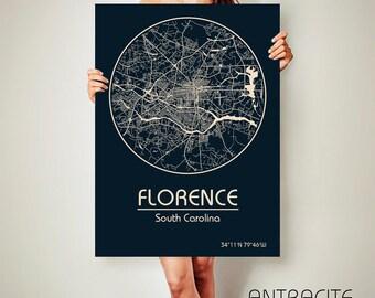 Florence South Carolina Canvas Map Florence South Carolina Poster City Map Florence South Carolina Art Print