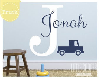 Boys Name + Truck w/ Large Initial Vinyl Wall Decal Sticker | Pickup Truck | Very Cute, For Nursery or Kids Room_ID#1394