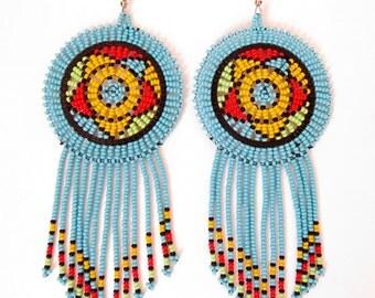 African Zulu beaded earrings - Dreamcatchers - Blue (Large)
