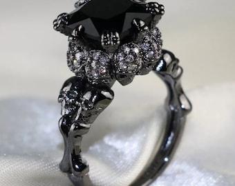 Black Skull 4ct Ring