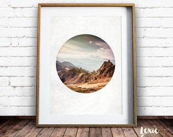 Mountain Print,  Mountain Photo, Nature Photo, Printable Art, Moody Landscape, Landscape Photo, Circle Photo, Round photo, Circle crop,