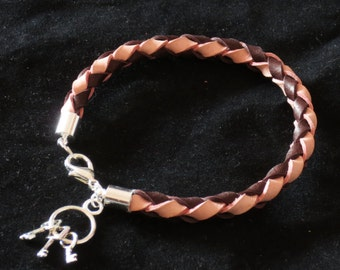 Pink and Chocolate Leather Bolo Bracelet Cuff Wristband with Keys Gift For Her Braided