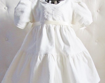 Christening robe for velvet baby and hand-made off-white lace in France