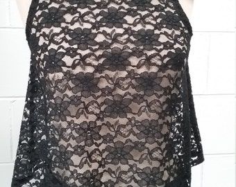 "Designer black lace ""flirt"" singlet"