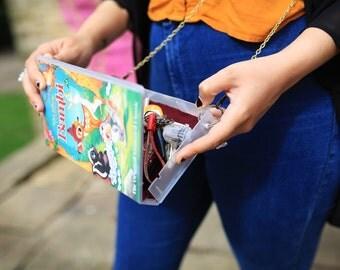Upcycled Disney classic Bambi handbag, VHS video case shoulder bag, clutch, retro