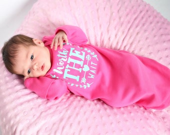 Worth the wait newborn gown, newborn girl hot pink & aqua, baby girl take home outfit, newborn girl hospital outfit, baby girl bodysuit pink