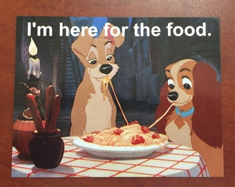 """DCL Door Magnet Lady and the Tramp """"I'm Here for the Food"""" Disney Cruise"""