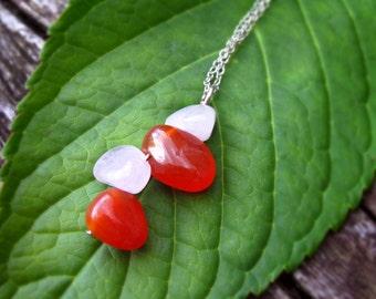 Carnelian & Rose Quartz Necklace. Mixed Gemstone Necklace, Carnelian Jewellery, Rose Quartz Jewellery, Gemstone Pendant
