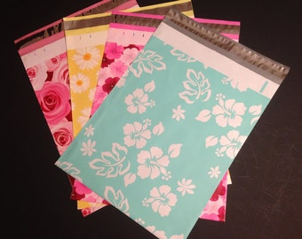 100 Assorted Designer Poly Mailers 10x13  Flowers Hibiscus Roses Daisies 25 Each Envelopes Shipping Bags