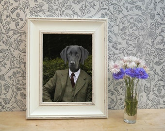 Black Labrador in Countryside Tweed Framed Pet Portrait Print