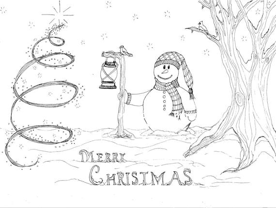 printable coloring page digital download merry christmas